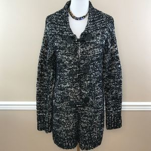 Carole Little Black/White Wool Blend Sweater Coat